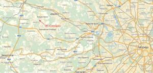"""Расположение ОК """"Снегири"""" на карте Подмосковья"""